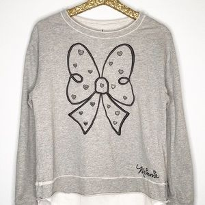 Disney Parks Minnie Mouse Bow Shirttail Sweatshirt